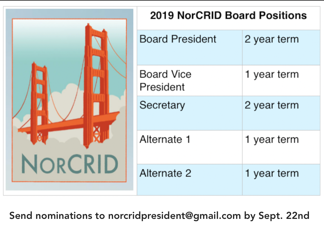 2019 Norcrid Board Positions Board President 2 year term Board Vice President 1 year term Secretary 2 year term Alternate 1 1 year term Alternate 2 1 year term Send nominations to norcridpresident@gmail.com by Sept. 22