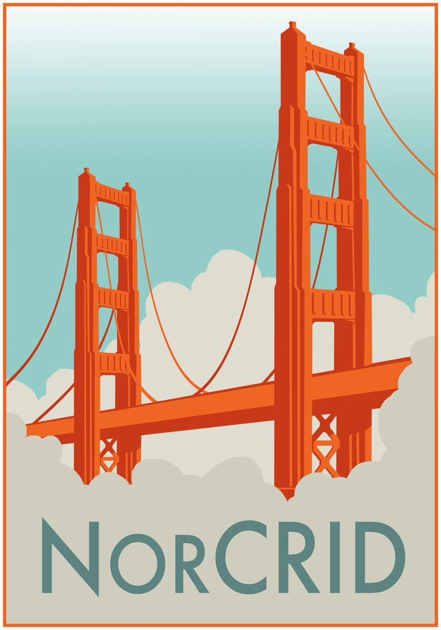 NorCRID Logo (image of the Golden Gate Bridge with turquoise sky above and clouds below and the text 'NorCRID' at the bottom)