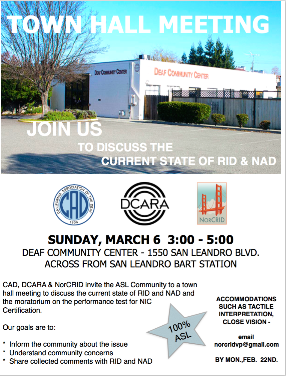 Town Hall Meeting Flyer- image of DCC, logos for NAD, DCARA and NorCRID. All text is also displayed below