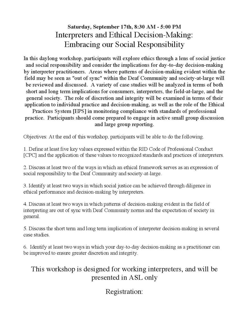 Flyer for Interpreters and Ethical Decision-Making Embracing our Social Responsibility