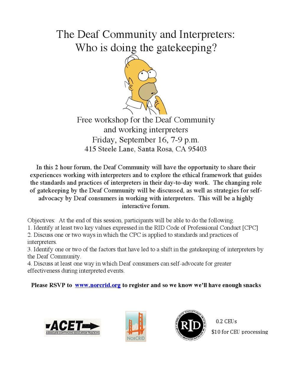 "Flyer for ""The Deaf Community and Interpreters Who is Doing the Gatekeeping"